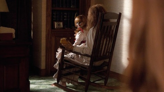 The Conjuring Annabelle doll on rocking chair